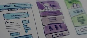 water colored painting of website wire framing in blue, purple and green
